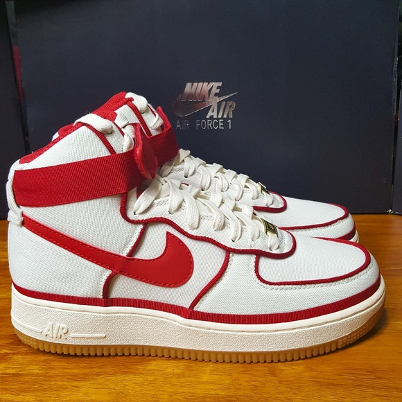 new style 80958 d6403 NIKE Air Force 1 One High Sail Red 806403-101 AF1
